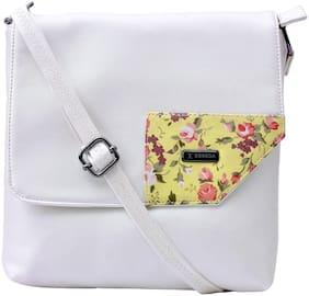 Esbeda Women Floral PU - Sling Bag White