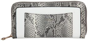 Esbeda White And Grey Color Printed Animal Textured Wallet For Women