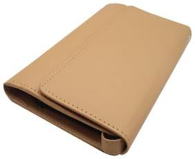 Essart Faux Leather plain finish 21cm long combination ladies clutch with button closure, Mobile slot, Lead / Lipstick slot, 10card slots - Brown