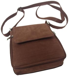 Essart PU Leather Suede finish Travel Sling bag / Travel Pouch with expandable zipp compartment - Brown