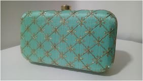 ETERNALLY18 Women Embellished Synthetic - Clutch Blue
