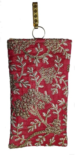 Ethnic Raw Silk Saree Clutch Embroidery Mobile Pouch Waist Clip And with String Ladies Purse Gift For Women  - Pink And Golden Color