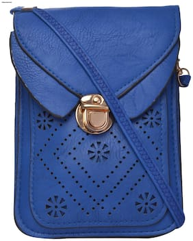 Exotique Women Solid Faux Leather - Sling Bag Blue