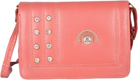 Exotique Pink Faux Leather Solid Sling Bag