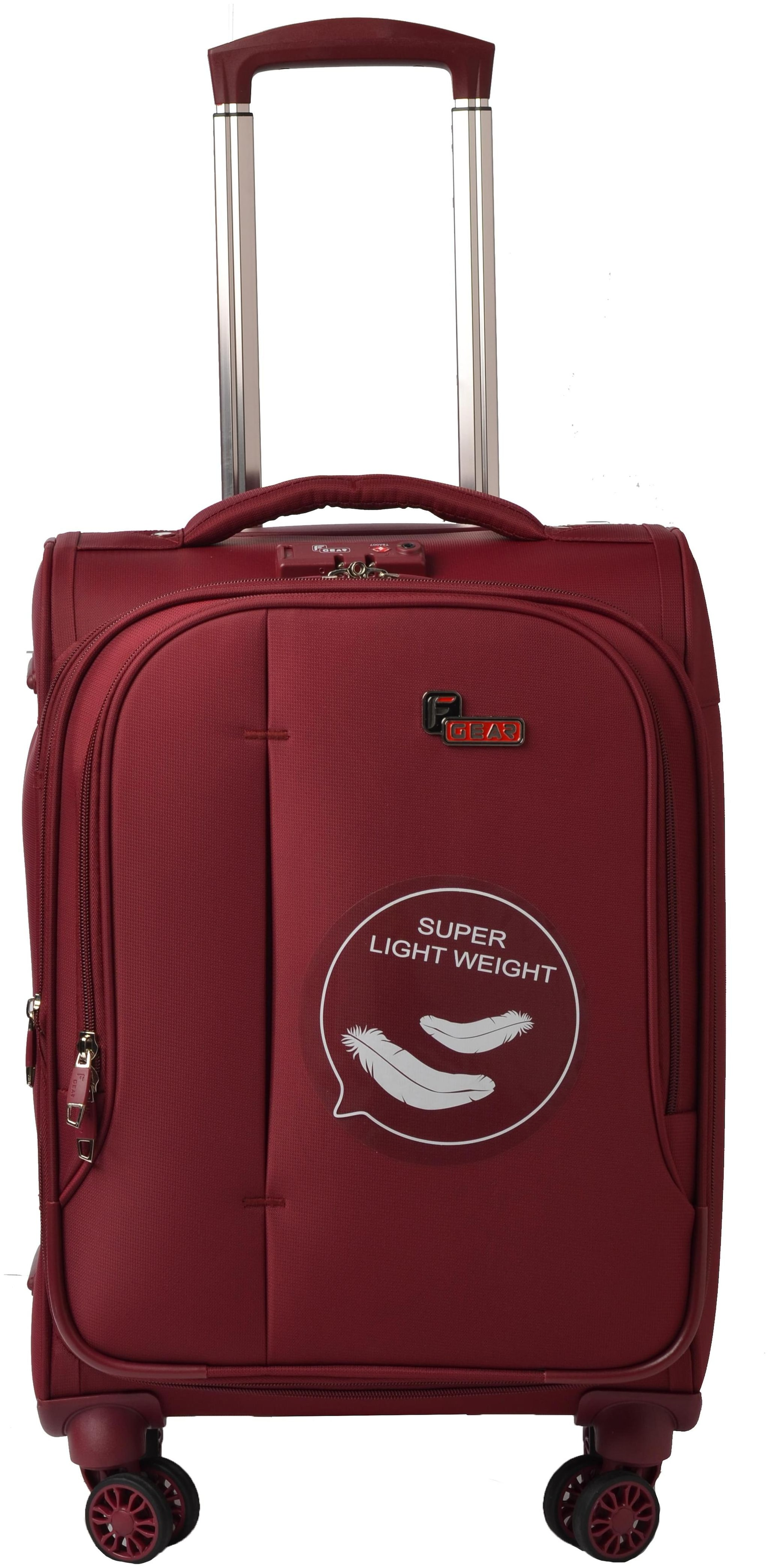 F Gear Cabin Size Hard Luggage Bag   Maroon , 4 Wheels