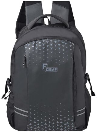 F Gear Lone Wolf Laptop Backpack With Rain Cover 34 Liters (Black, Grey) Sch Bag