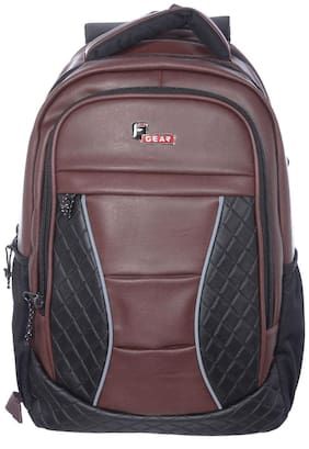 F Gear Brown Waterproof Leather Backpack