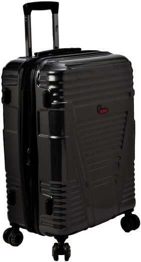 F Gear Valkyrie Polycarbonate 55 (cm) Black Hardsided Suitcase (4 Wheel Trolley Case)