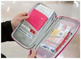 Fab Decorz  Passport CreditCard Organizer Pouch Multipurpose Card Holder Wallet (Random Color)