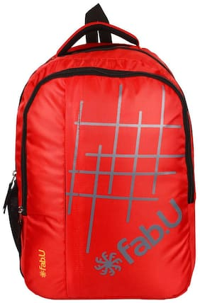 Fab.U Red Waterproof Polyester Backpack
