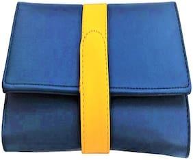 Tulips Women Blue & Yellow PU Wallet