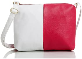 FANDDC Pink Faux Leather Solid Sling Bag