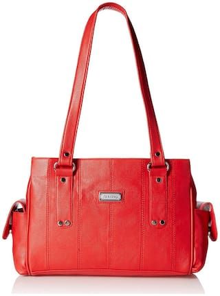 Fantosy Faux Leather Women Handheld Bag - Red
