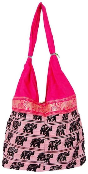 Fashion Bizz Pink Canvas Handheld Bag