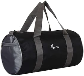 Favria Polyester Men Gym Bag Black Grey