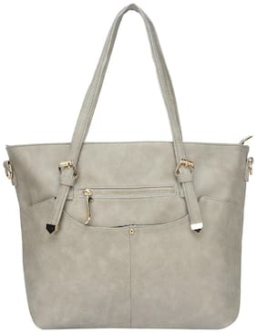 FIONA TRENDS Grey Faux Leather Handheld Bag