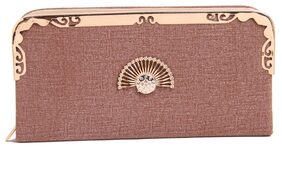 FIONA TRENDS Women Faux Leather Clutch - Brown