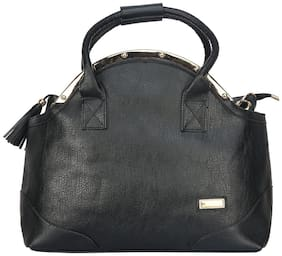FIONA TRENDS Black Faux Leather Handheld Bag