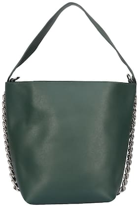 FIONA TRENDS Green Faux Leather Handheld Bag