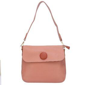 Fiona Trends Pink PU Push Button Shoulder Bag For Women