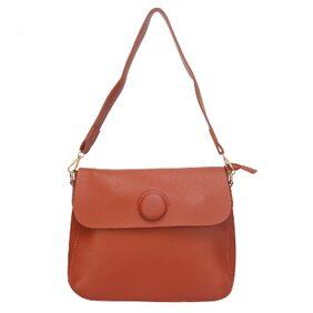 Fiona Trends Brown PU Push Button Shoulder Bag For Women