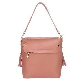 Fiona Trends Pink PU Zipper Shoulder Bag For Women