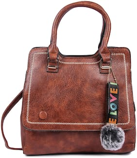 FIONA TRENDS Brown PU Handheld Bag