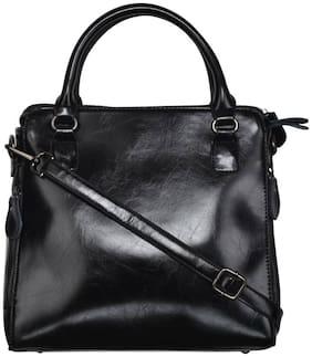 Fiona Trends Black PU Zipper Hand Held Bag