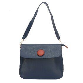 Fiona Trends Blue PU Push Button Shoulder Bag For Women