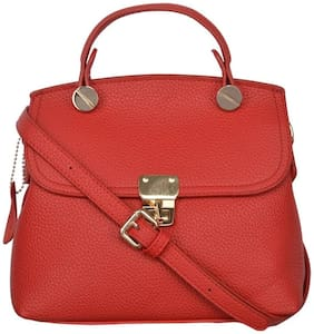 FIONA TRENDS Red Faux Leather Handheld Bag