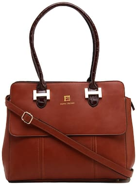FIONA TRENDS Brown PU Solid Sling Bag