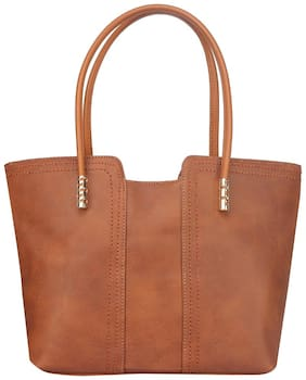 FIONA TRENDS Brown Faux Leather Handheld Bag