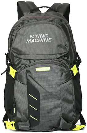 Flying Machine Grey Polyester Backpack