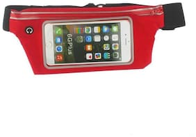 FOKAT Unisex Slim Waist Pouch/Waist Bag For Gym/Running/Cycling/Hiking/Climbing or Travelling Purpose (RED COLOR)