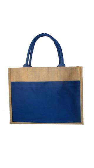Foonty Women Solid Fabric - Tote Bag Blue