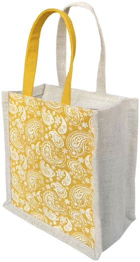Foonty Jute Solid Tote Bag For Women