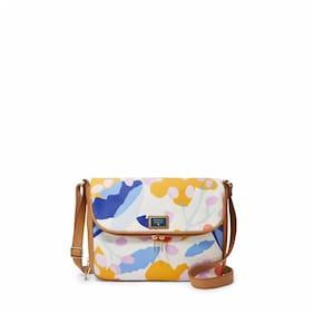 Fossil Preston Flap Small Fabric Expandable Crossbody Light Floral Shoulder Bag