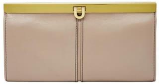 Fossil Women Beige Leather Wallet