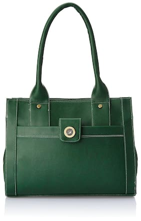 FOSTELO Green Faux Leather Handheld Bag