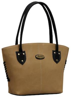 FOSTELO Beige Faux Leather Handheld Bag