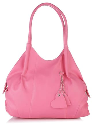 FOSTELO Pink Faux Leather Handheld Bag