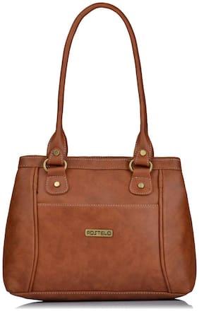 FOSTELO Tan Faux Leather Handheld Bag