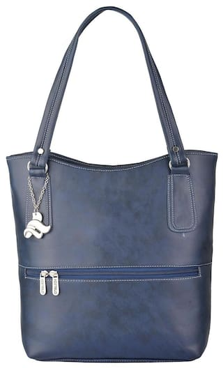 FOSTELO Blue Faux Leather Handheld Bag