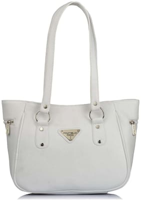 FOSTELO White Faux Leather Handheld Bag