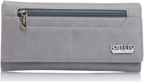 FOSTELO Women Solid PU - Clutch Grey