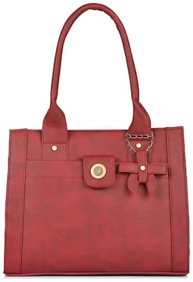 FOSTELO Maroon Faux Leather Handheld Bag