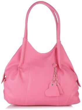 FOSTELO Pink Faux Leather Handheld Bag