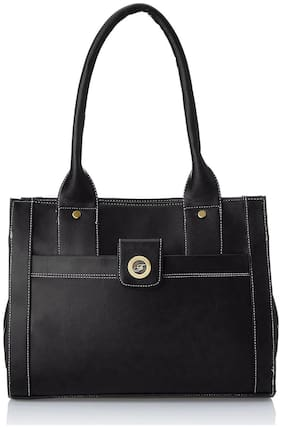 FOSTELO Black Faux Leather Handheld Bag