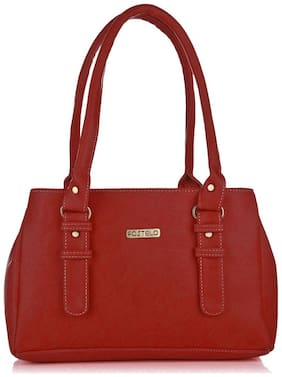 FOSTELO Red Faux Leather Handheld Bag