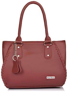 FOSTELO Maroon Faux Leather Handheld Bag